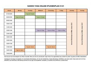 Nandin Yoga Online Stundenplan